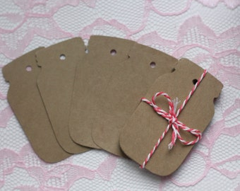 Kraft cardstock Mason Jar gift Tags, Jar Labels, Favor tags