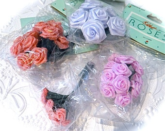 4 Ribbon Rose Bunches Floral Supplies Crafts RR-111