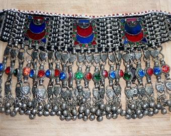 Old Tribal-Choker with Red and Blue Glasstones II, Kuchi-Choker, Tribal-Choker, vintage