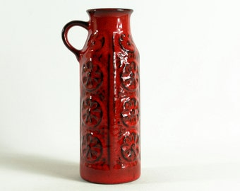 West German Pottery 70s, red ceramic vase by BAY - Modernist, Mid Century