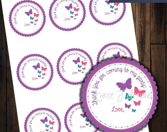 Butterfly Birthday Party Goodie Bag Favor Tags - INSTANT DOWNLOAD