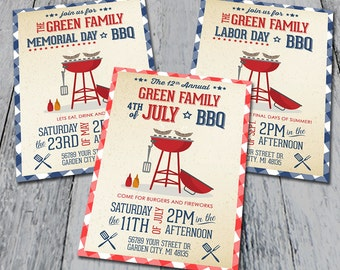 Labor Day, Memorial Day, Fourth of July BBQ Invitations (Printable)