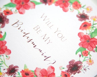Will You Be My Bridesmaid? Card. Pretty Floral Wreath Bridal Party From Bride-To-Be. Plum, Burgundy - Wild Flower, Country Garden - Woodland