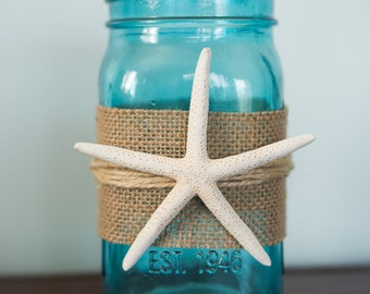 Mason Jar with Starfish and Hemp String