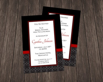 Bridal Shower Invite-Black and Red Damask