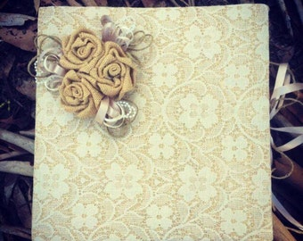 Wedding Guest book with a handmade rose corner embellishment !