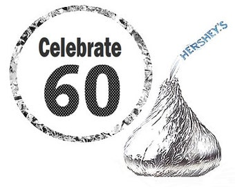 60th Birthday Party Favor Hershey's Kisses Stickers / Labels -216ct