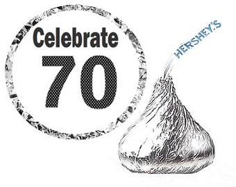 Celebrate 70 - 70th Birthday Party Favor Hershey's Kisses Stickers / Labels -216ct