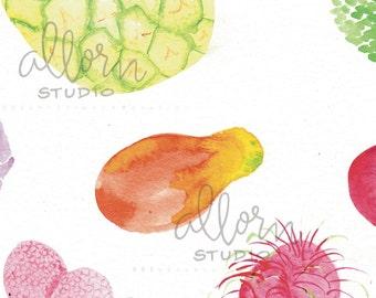 Fruits of Hawaii Card, Just Because Card, Watercolor Card, Colorful Card, Happy, Local, Hawaii, Fruity, Pineapple, Mango, Papaya, Lychee