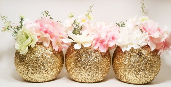 Gold Wedding Decor, Round Vase Centerpieces, Wedding Centerpieces, Graduation Party Decorations, Glitter Vase, Gold Centerpieces, Set of 3