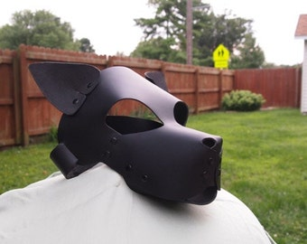 Leather Puppy Play Mask Hood