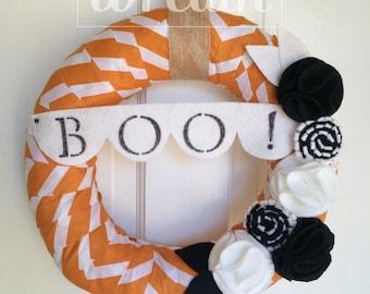 Halloween Wreath, BOO Wreath, Chevron Wreath, Orange Wreath, Holiday Wreath, Fall Wreath