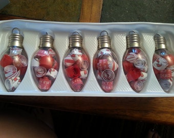set of 6 light bulb ornaments