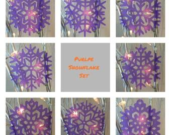 Purple Snowflake Christmas Decoration Set