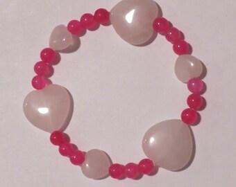 Pink Stone Hearts & Hot Pink Stone Bracelet
