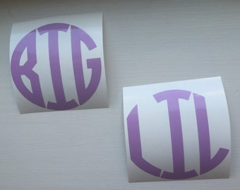 BIG and LITTLE Circle Decals - Set of Big Little Decals - 2 Pack of Big Little Decals - Big and Little Decals - Big Little Decal - Big Lit