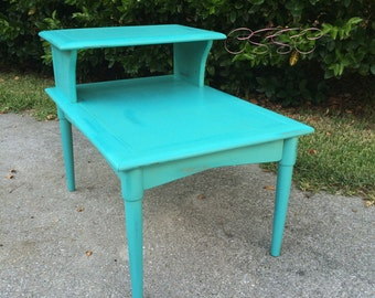 SOLD-Distressed Antique End Table / Step Table Painted
