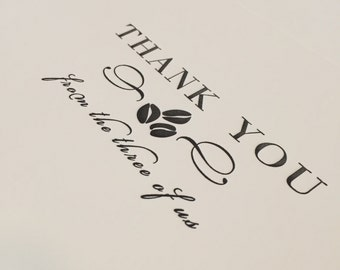 Coffee Themed Baby Shower Thank You Cards  - Letterpress