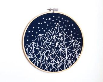"Geometric Starry Night Mountain Embroidery 7"" Hoop"