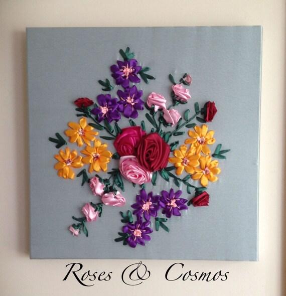 Items similar to roses cosmos ribbon embroidery wall