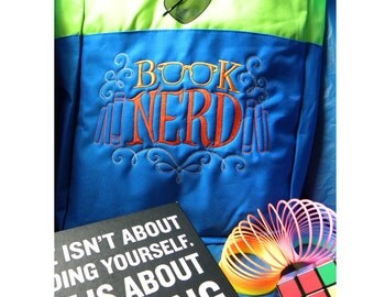 Book Nerd - Embroidered Bag