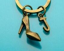 High Heel Keychain, Bronze High Heel Key Ring, Stiletto Charm, Initial Keychain, Personalized Keychain, Custom Keychain, Charm Keychain, 532