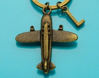 Airplane Keychain, Bronze Airplane Key Ring, Plane Charm, Initial Keychain, Personalized Keychain, Custom Keychain, Charm Keychain, 585