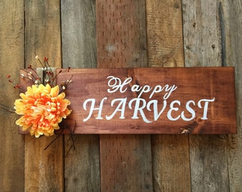 ON SALE NOW*****Happy harvest wood sign, harvest sign, rustic wood sign,thanksgiving decor