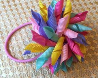 Ponytail holder, baby hair bow, ponytail bow, multicolor korker bow, hair tie, toddler hair accessory