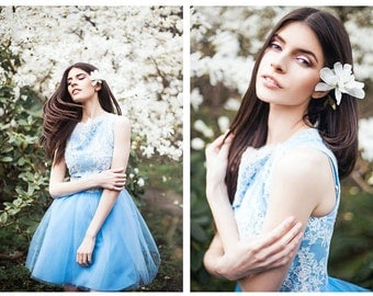 blue tulle and white lace dress