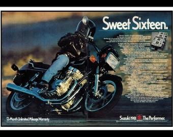 "Vintage Print Ad June 1983 : Suzuki GS-750E Motorcycle 2 Page Advertisement Wall Art Decor Color 16"" x 11"""