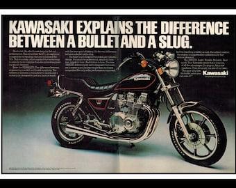 "Vintage Print Ad June 1983 : Kawasaki 1000LTD Motorcycle 2 Page Advertisement Wall Art Decor Color 16"" x 11"""