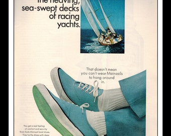 "Vintage Print Ad May 1965 : Keds Mainsail Boat Shoes Sailing Wall Art Decor 8.5"" x 11"" Print Advertisement"