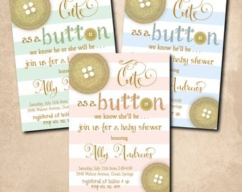 Cute as a Button Shower Invitation printable/Digital file/baby shower boy, girl, gold, button invitation, glitter/Wording can be changed