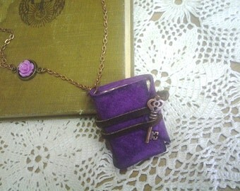 Mini Purple Leather Journal Necklace