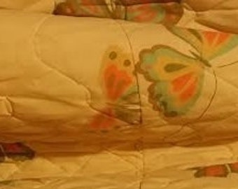 Yellow dual king vintage butterfly bedspread, from the 1970's adorned with multi color butterflies.