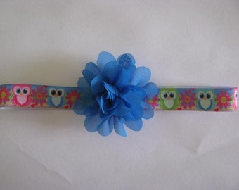 baby headband bright owl print with blue flower