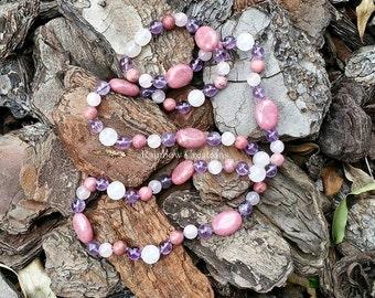 Rhodonite, Rose quartz and Amethyst Necklace
