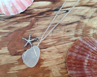 Sea Glass and Starfish Charm Necklace, Wire Wrapped Pendant, Silver Plated Chain