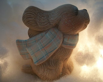 Ceramic dog,puppy,with scarf Christmas decoration