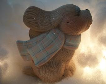 ceramic dog,puppy,with scarf