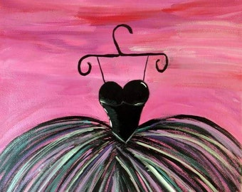 Set of 2 hand painted, wood framed canvas - Dance