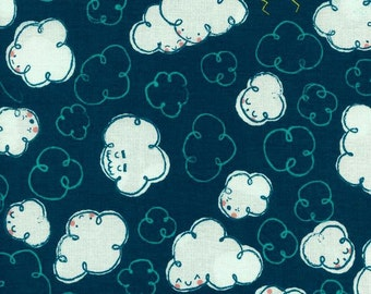 Kids Cloud Fabric - Zephyr by Rashida Coleman-Hale for Cotton and Steel - Gale Teal - Fabric By The Half Yard