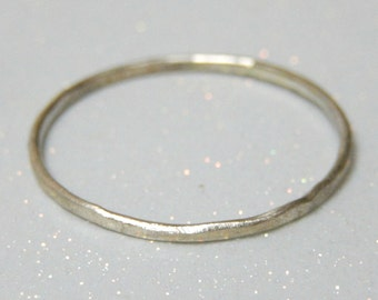 Sterling Silver Ring Band - Sterling Silver Stack Ring - Delicate Hammered Sterling Silver Ring
