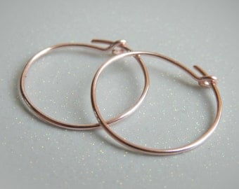 Rose Gold Hoop Earrings - Rose Gold Hoops - Rose Gold Earrings