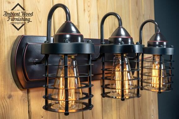 industrial bathroom vanity cage light fixture bar light. Black Bedroom Furniture Sets. Home Design Ideas