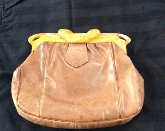 Lovely leather & Bakelite Clutch