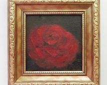 Special price - Red rose painting - Framed oil painting - Miniature flower painting in golden frame - Small wall art - Red rose art