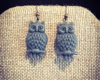 Grey Owl earrings