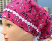 Hot Pink Blah, Blah, Blah Scrub Hat for Women with Venice Lace Daisy Accent Trim